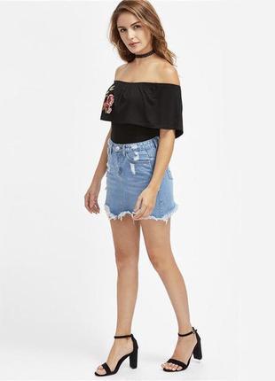 Крутая,джинсовая юбка с потертостями,дырками,бахромой, denim co