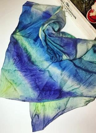 Красивый,большой шелковый платок,косынка( шарф) ручной работы,...