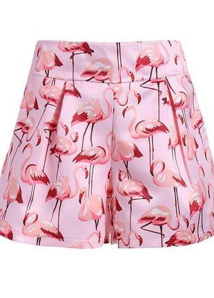 Розовые,атласные шорты с фламинго,карманы по боку,большой размер