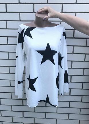 Крутая,белая кофта,свитшот в чёрные звезды, хлопок