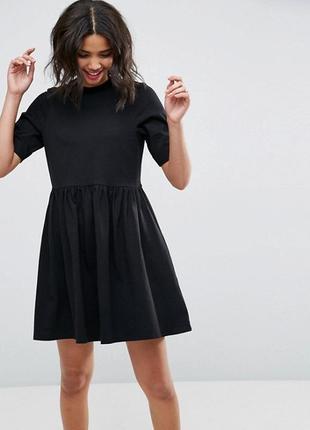 Чёрное платье,хлопок- трикотаж, asos