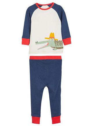 Пижама для мальчика, синяя. крокодил.