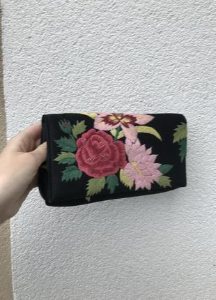 Чёрный клатч ,кошелёк с вышивкой,этно
