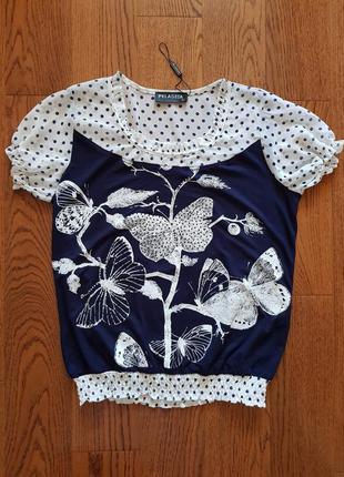 Блузка летняя комбинированная р. 50