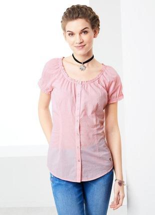 Блуза с коротким рукавом в мелкую клеточку от Tchibo. Разм. 46 ев