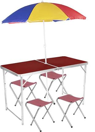Раскладной стол для пикника в чемодане +4 стула в комплекте.