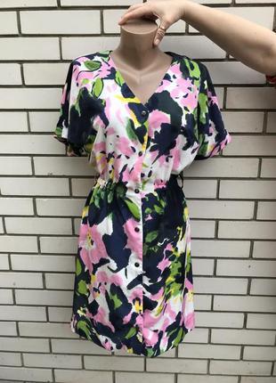Платье-халат на застежке,рубашка на кнопках, цветочный принт, h&m