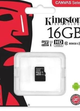 Карта памяти Kingston micro SD HC 16GB Class 10.