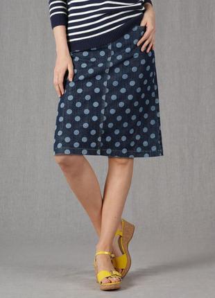 Джинсовая юбка в горошек,большой размер, boden