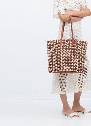 Большая,плетённая сумка шоппер,торба,авоська с кожаными деталя...