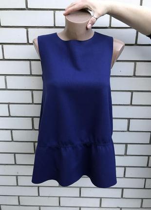 Красивая,синяя,неопреновая блузка с баской,кофта,майка с рюшей...