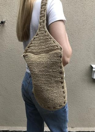 Вязаный рюкзак в этно стиле