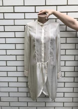 Легкое,воздушное,шелковое платье-рубашка,удлиненное по спинке,...