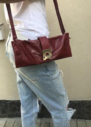 Бордо,маленькая сумка,кросбоди на одно плечо, клатч,кожа100%
