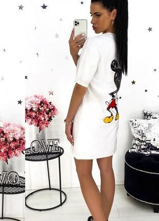 Повседневное женское платье с мики маусом, туника женская