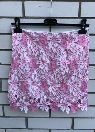Нежная,розовая,кружевная мини-юбка ,маленький размер, glamourous