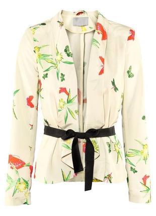 Легкий жакет,пиджак под пояс, кимоно,блуза,цветочный принт,пре...