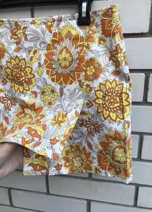 Новая ,асиметричная юбка sisley,хлопок,ретро,винтаж принт,итал...