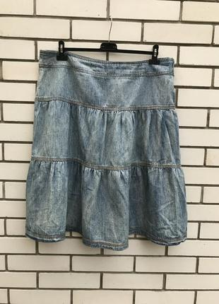 Джинсовая юбка-выборка,большого размера,хлопок,этно,бохо,кэжуа...