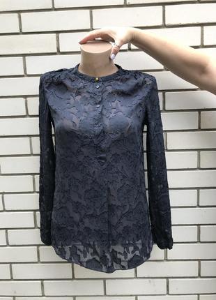 Шелковая рубашка,блуза,кружевная,прозрачный принт,massimo dutti