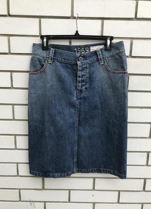 Винтаж,джинсовая юбка-карандаш с разрезами по спинке