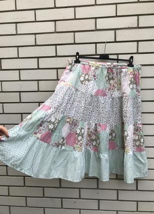 Лёгкая,хлопок100% юбка,принт в стиле печворк,этно,бохо,деревен...