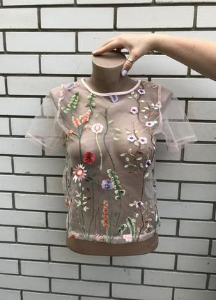 Прозрачная,укороченная блузка с вышивкой,маленький размер,