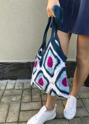 Вязанная,ажурная сумка,торба,авоська ручной работы,этно,бохо с...