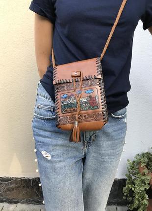 Винтажная кожаная сумка на одно плечо,кросбоди,этно,бохо стиль