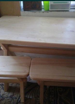 Стол и лавочки из дерева, ручная работа