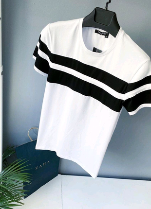 😍футболка  zara ( два цвета) мужская белая и чёрная качество топ