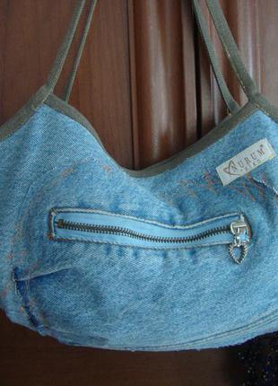 Джинсовая сумка сумочка с карманчиком