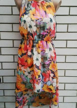 Красивое платье в цветочный принт и удлиненное по спинке  от a...