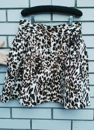 Красивая леопардовая юбка с карманами,из плотной ткани,держит ...