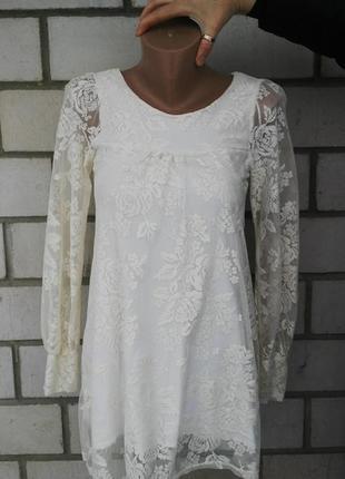 Очень красивая кружевная блузка(мягкий гепюр),туника,платье, n...