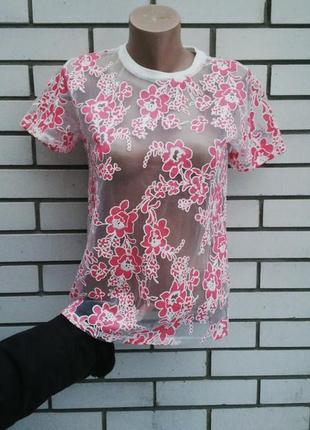 Прозрачная блузка(футболка) в цветочный принт,atmosphere