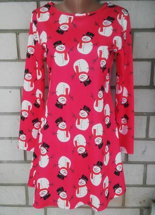 Очень красивое,яркое ,красное платье,туника со снеговиками,хло...