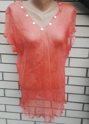 Шелковая прозрачная  блузка,пляжная ,100% шелк,америка