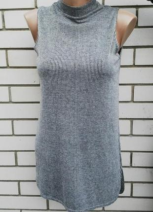 Блузка трикотажная(топ,майка)туника в рубчик, удлиненная по сп...