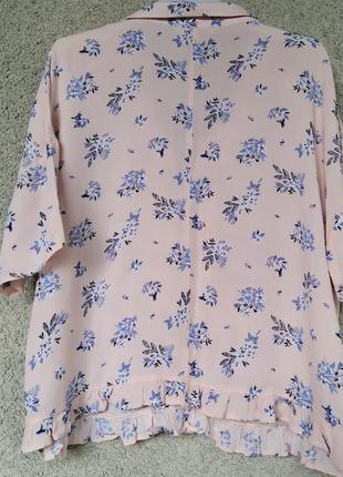 Женская розовая блуза в цветочный принт