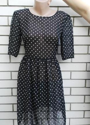 Красивое,легкое,воздушное,черное платье  в белые горохи,прозра...