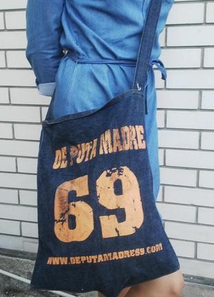 Крутая джинсовая сумка,торба с надписями , на одну длинную руч...