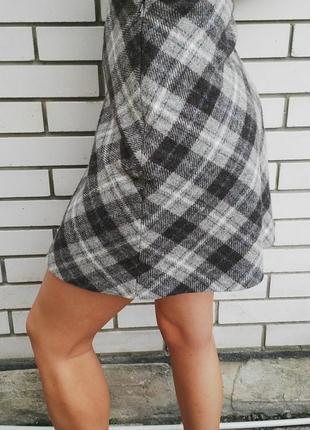 Красивая,английская шерстяная мини-юбка в клетку,шерсть 100%, ...
