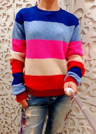 Свитшот британия женский m/l яркий свитер полосы розовый красн...