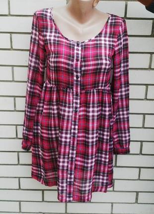 Легкая,чуть прозрачная блузка,туника,платье,рубашка в клетку с...