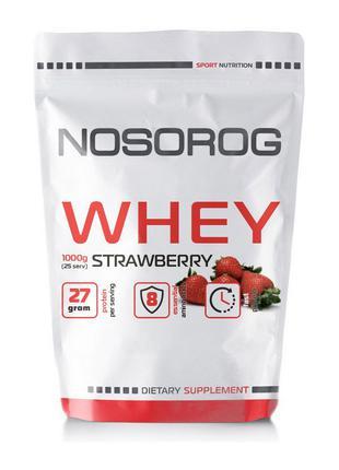 Протеин сывороточный Nosorog Nutrition Whey protein 1 кг клубника