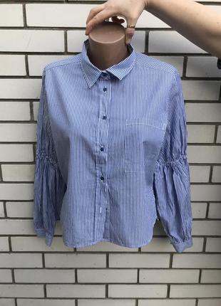 Укороченная рубашка,блуза в бело-голубую полоску с широкими ру...