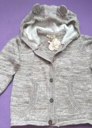 Вязаная кофта с капюшоном 86/92 lupilu для мальчика хлопчика