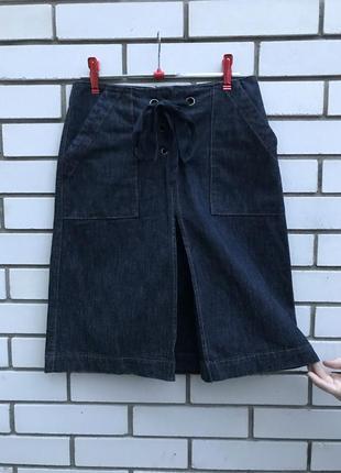 Красивая джинсовая миди-юбка, шнуровка по талии,впереди со вст...