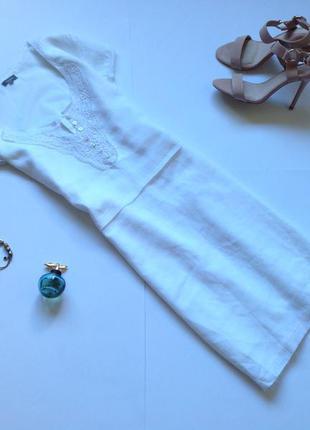 Белое летнее льняное платье рубашка